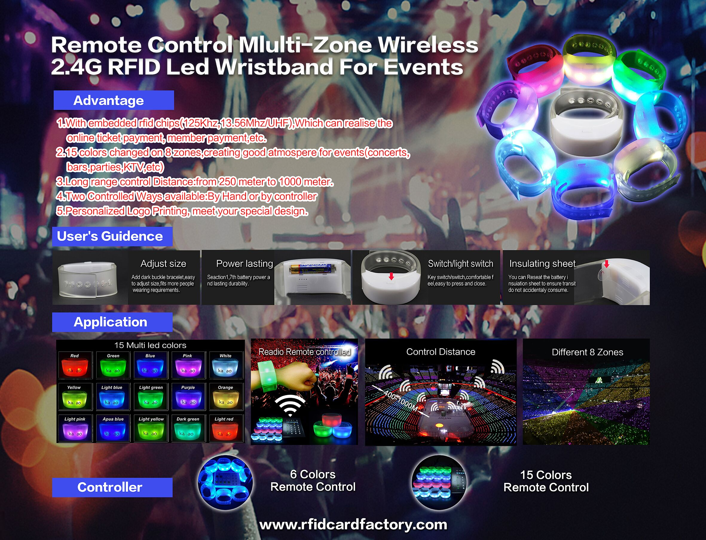 remote control rfid led wristband